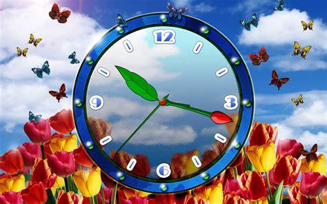 wallpaper free clock tulip clock screensaver download natural flower clock