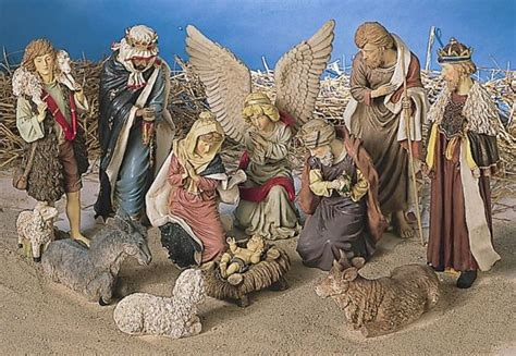 large 12 piece outdoor nativity set with stable christmas