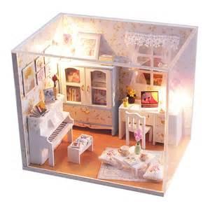 new kits diy wood dollhouse miniature with led furniture