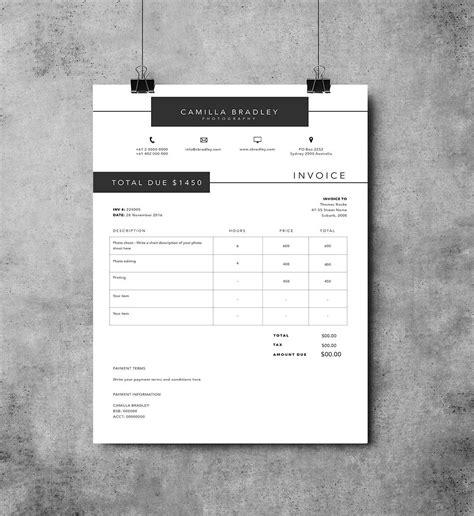 photoshop invoice template photography invoice template invoice design receipt