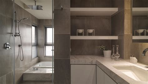 modern stone bathroom neutral contemporary apartment by w c h design studio