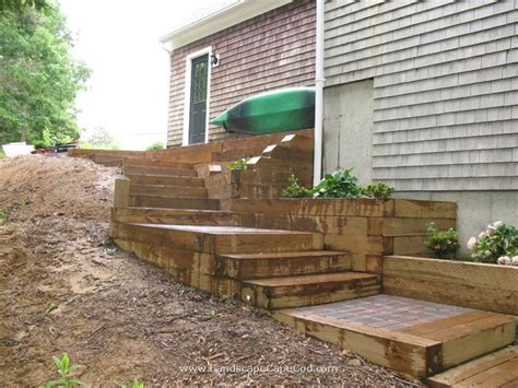 Landscape Timbers Cape Cod Patio Pavers With Timber Steps