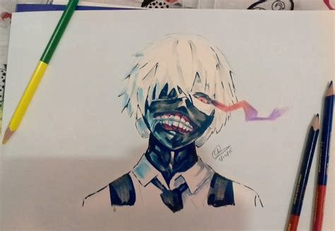 copic colored pencils colored pencils and copics kaneki ken by chedil on