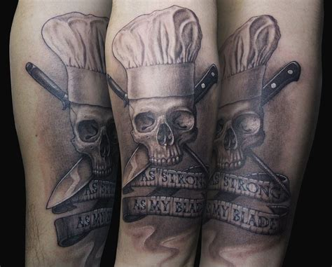 scalpel tattoo quot as strong as my blade quot chef skull skulls