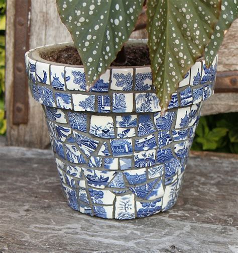 willow pattern mosaic willow pattern plant pot flickr photo sharing