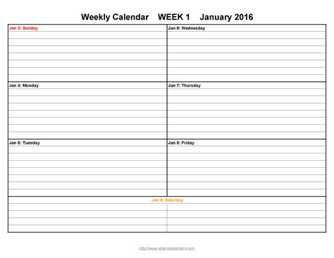 week by week calendar template week printable calendar template sle