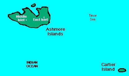 abc maps of ashmore and cartier islands; flag, map