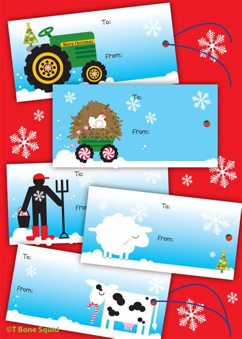items similar to farm christmas gift tags for kids on etsy