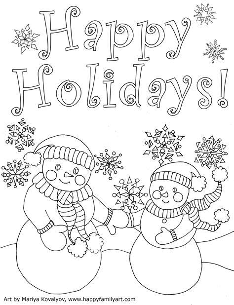 holiday coloring page happy family art original  fun