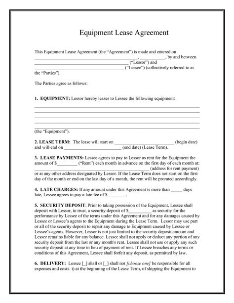 equipment rental lease agreement template sle vlashed