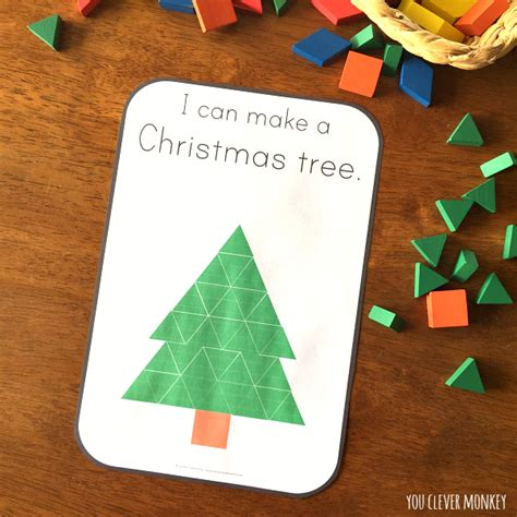 christmas tree pattern block template christmas pattern block challenge cards you clever monkey