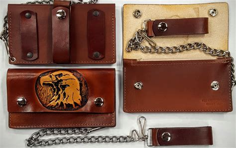 Handmade Leather Usa - eagle leather wallet with chain handmade leather wallets