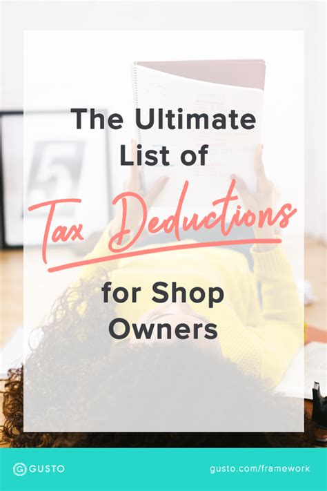 ultimate list  tax deductions  shop owners