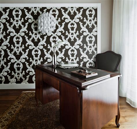 black home office sleek and sumptuous poland apartment