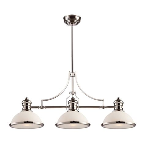 3 Light Island Fixture Elk Lighting 66215 3 Polished Nickel Chadwick Three Light Kitchen Island Fixture In Polished