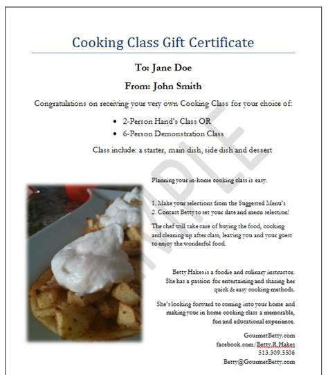 cooking gift certificate template certificate template for cooking gallery certificate