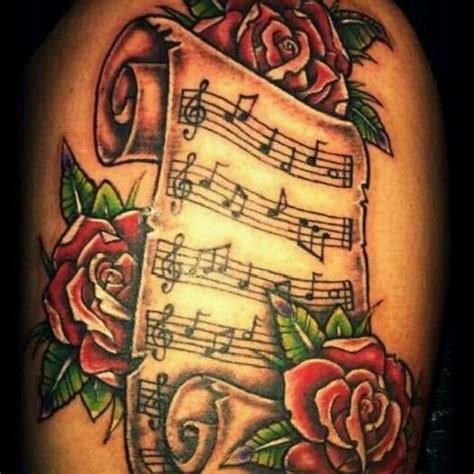 sheet music tattoo sheet with a beautiful setup tattoos