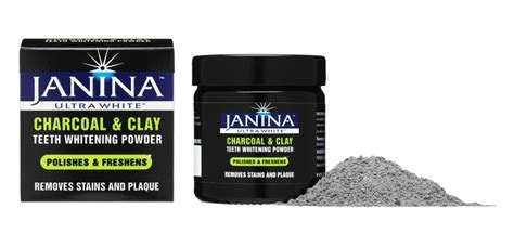 janina ultra white launches charcoal clay teeth