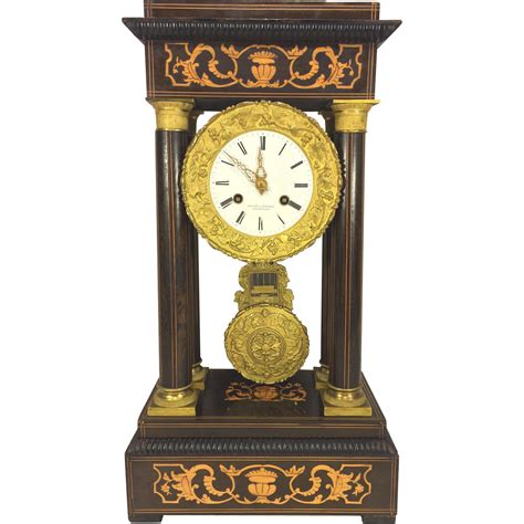 wooden clock style and design knowledgebase antique french empire portico mantel clock inlaid wood