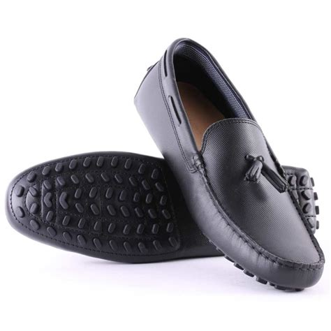 lacoste leather loafers lacoste concours tassle mens leather loafers in black
