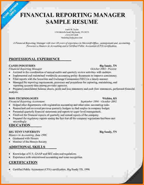Financial Reporting Manager Cover Letter by 7 Financial Reporting Exles Financial Statement Form