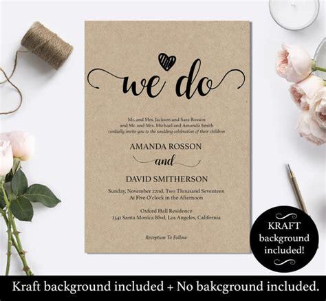 Where To Do Wedding Invitations by We Do Wedding Invitation Template Rustic Kraft We Do