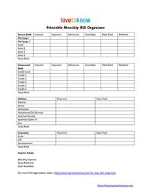 bill template monthly bill organizer template best business template