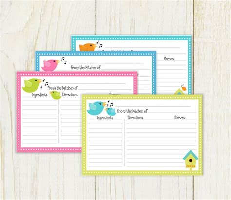 printable lined recipe cards birds recipe cards 4x6 lined instant download by