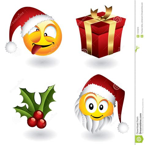 christmas emoticons emoticons and elements stock vector image 11615010