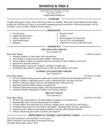 Is My Resume Free by Part Time Nanny Resume Sle My Resume For Nanny Resume Exle Getessay Biz