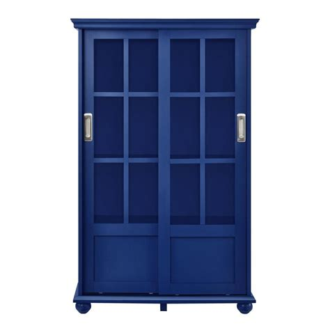Ameriwood Glass Door Bookcase Ameriwood Abel Place Navy Glass Door Bookcase Hd82375 The Home Depot
