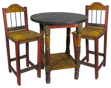 Rustic Bistro Table And Chairs Painted Wood Bar Table Set With 4 Stools Rustic Indoor Pub And Bistro Sets By
