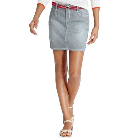 hilfiger grey pinstriped denim mini skirt in blue