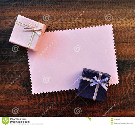 Empty Gift Cards - empty pink paper gift card with gift box royalty free stock photography image 20795887