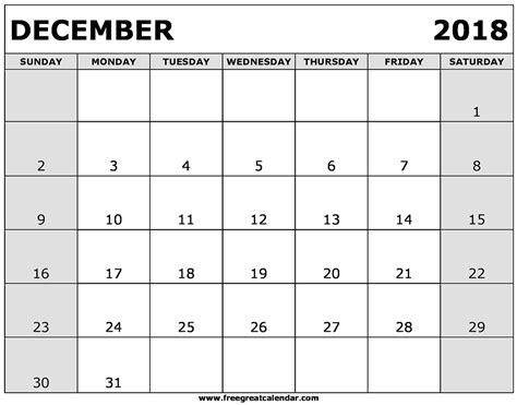 printable free december calendar blank december 2018 calendar printable