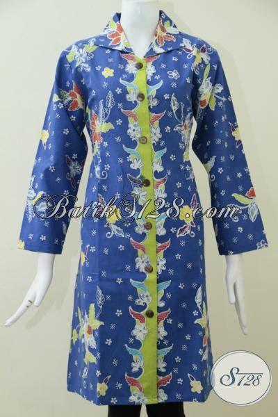 Blus Batik Biru Xl batik baju blus panjang dengan daleman furing mewah busana batik tulis warna biru motif terkini