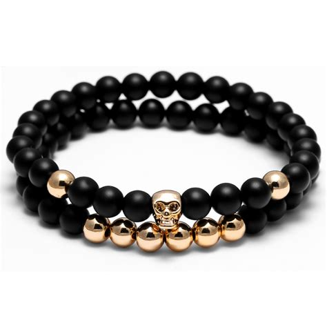 skeleton charm bracelet atolyewolf bracelet 6mm black