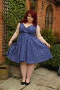 Bbw couture blue polka dot 1950s vintage party dress vintage plus
