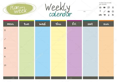 Current Calendar Week Plan Your Week Weekly Calendar Stock Vector