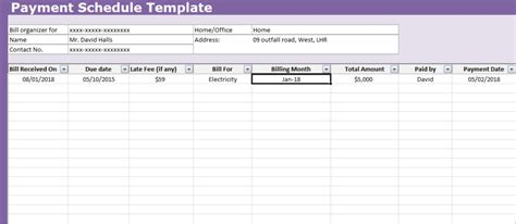 payment schedule template excel payment schedule template excel xlstemplates