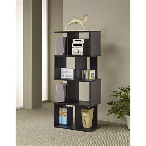 furniture of america alden modern bookcase in black mar