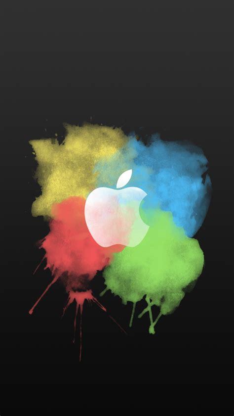 paint brush color splash apple logo dark iphone