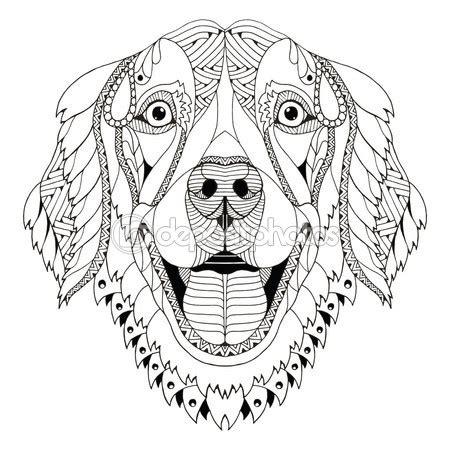dog pattern drawing golden retriever dog zentangle stylized head freehand