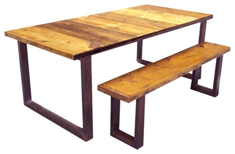 Industrial Kitchen Table Furniture Industrial Dining Table And Bench Industrial Dining Tables By Oilfield Slang