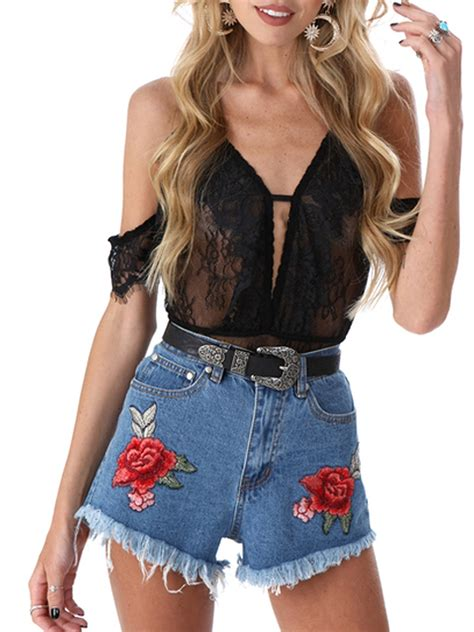 Floral Embroidery Denim Shorts blue floral embroidery denim shorts choies