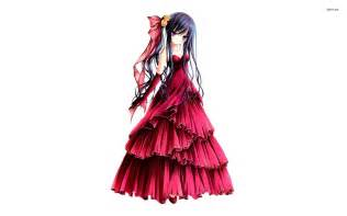 Dress anime wallpaper with 1222 girl with red dress on flame
