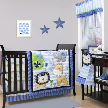 jungle nursery bedding sets baby crib bedding set blue jungle theme baby sketches 4 set walmart