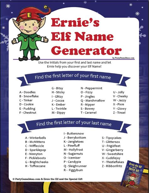 ernie the elf gift passing game name generator what s your name