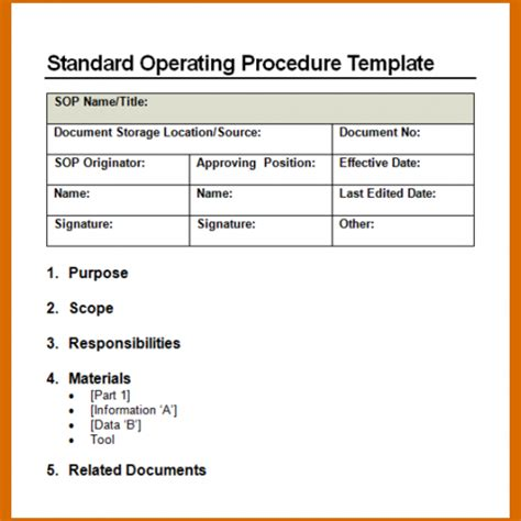 standard of procedure template 14 standard operating procedures templates