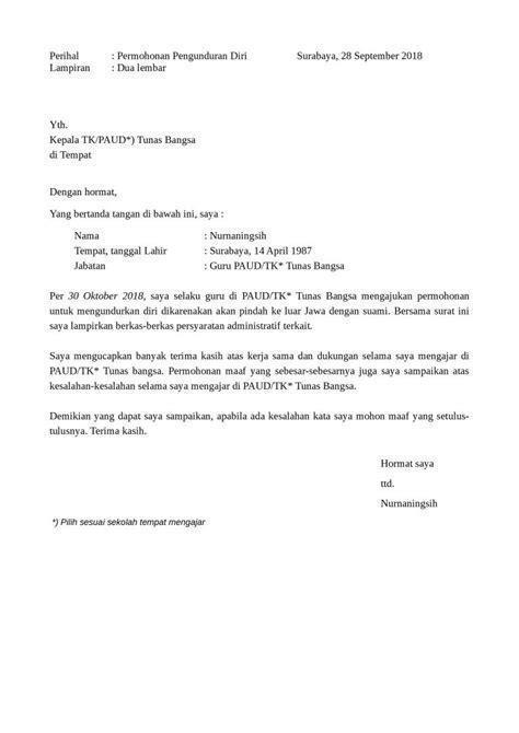 contoh surat pengunduran diri guru yang baik dan formal